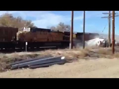 Water Truck hit by a Train