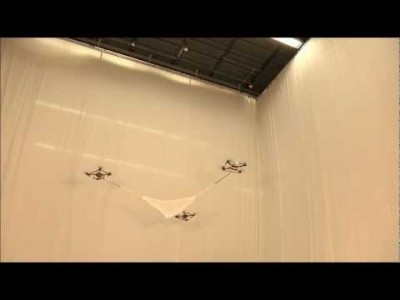 Three Quadrocopters cooperatively Tossing and Catching a Ball