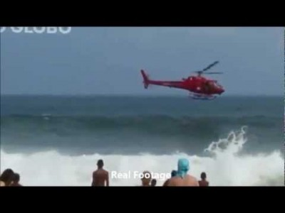 Rescue Helicopter Crashes during Operation – Crowded Copacabana Beach