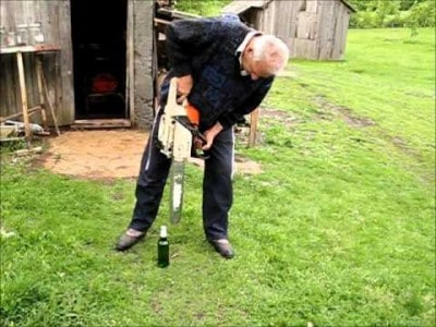 Opening a Bottle of Beer with a Chainsaw