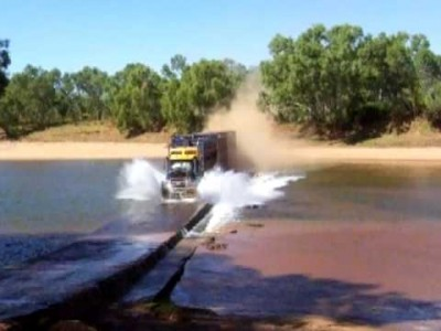 Australian Road Train crossing the Fitzroy River