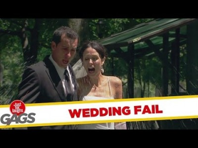 Bride and Groom Get Splashed Prank