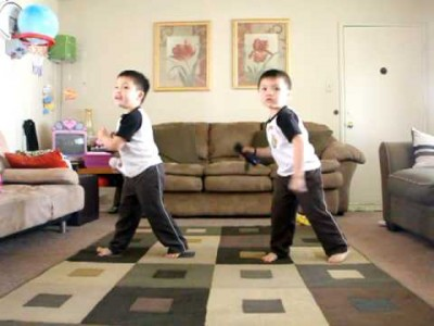 Twins Playing the Just Dance game on Wii