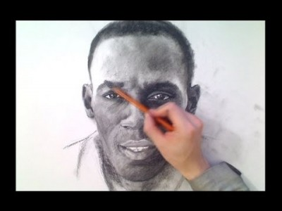 Usain Bolt (Fastest Man) Charcoal Drawing
