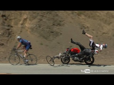 Motorcycle Crashes into Bicycles
