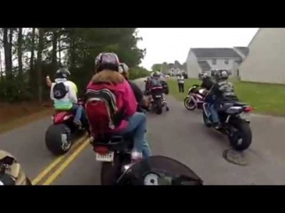 Girl Falls off Motorcycle and Gets Stuck on Tire