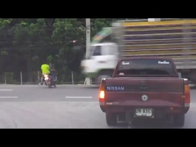 Heavy Truck Crashes into Motorcycle