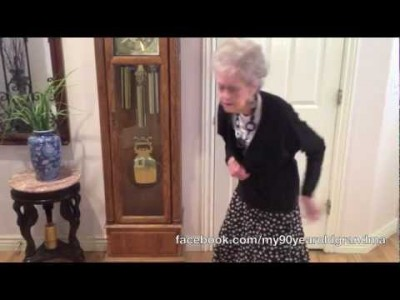 90 Year old Grandma dances to Whitney Houston