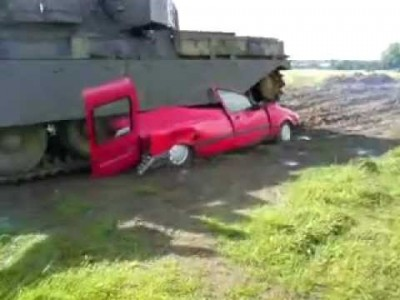 Van Crushed into bits by a Tank!
