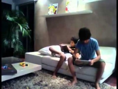 Boy Slaps his Brother with his iPad !