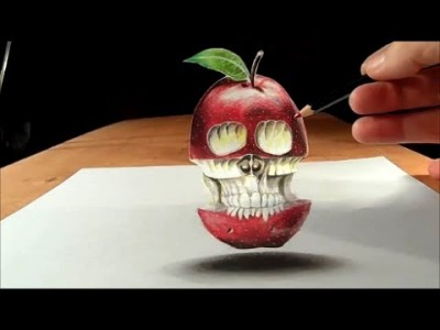 Trick Art: Drawing Levitating 3D Apple Skull