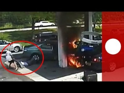 Heroic Rescue: Man pulls Driver from Burning Car after Crash