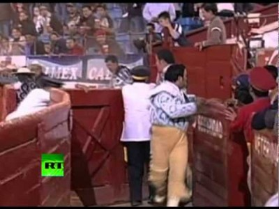 Raging Bull jumps Fence and changes into the Crowd