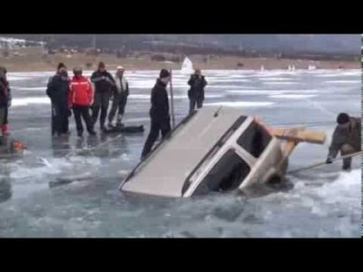 How to pull out a car from a Frozen Lake. Russian Style.