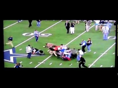 Runaway Cart Plows into People at Football Game