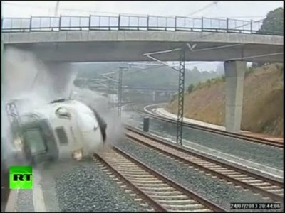 Dramatic CCTV Footage of High-Speed Train Crash in Spain