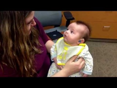 Baby hears his Mom for the first time with Hearing Aids
