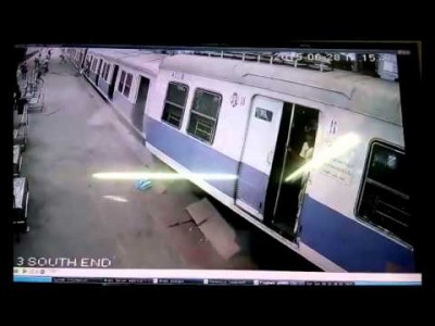 CCTV Footage: Mumbai Local Train overshoots Platform at Churchgate Station