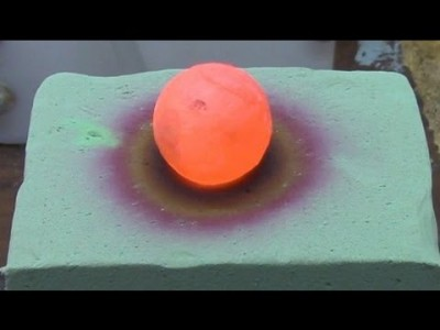Red Hot Nickel Ball on a Floral Foam