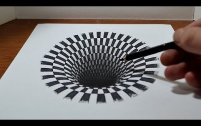 Drawing a Hole – Anamorphic Illusion