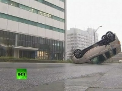 Car blown away by wind in Japan