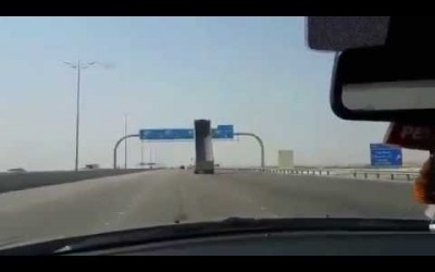 Truck Crashes into a Highway Sign